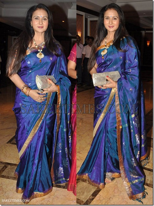 Poonam_Dhillon_Blue_Saree