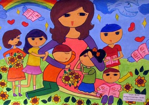 Tranh vẽ của học sinh mừng ngày nhà giáo Việt Nam | Chánh Đạt Online