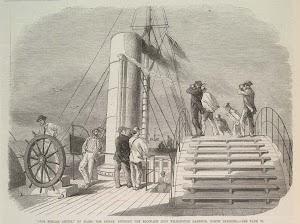 El capitan Maffit a bordo del LILLIAN intentando romper el bloqueo. Grabado aparecido en el ILLUSTRATED LONDON NEWS