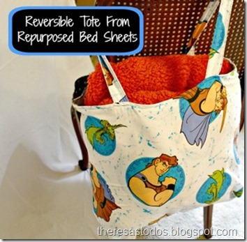 Reversible Tote From Repurposed Bed Sheets