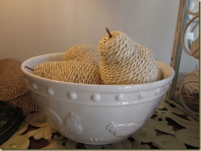 foyer white bowl burlap fruit