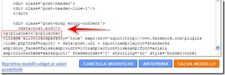 come mettere bottone  1 google blog blogger condividere modello template
