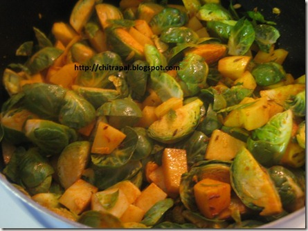 Chitra Pal Roasted curry Brussels sprouts and Potato