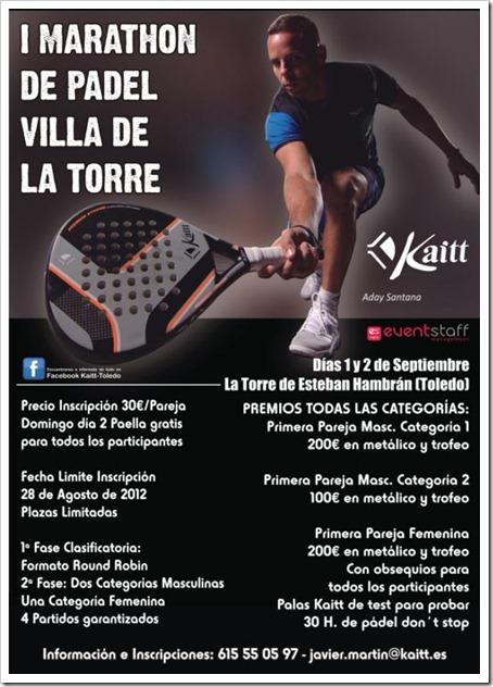 I Marathon de Pádel Villa de La Torre en Toledo organizado por KAITT. Septiembre 2012.