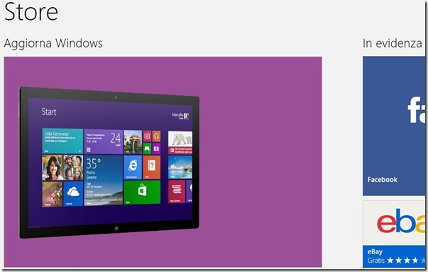 Aggiorna a Windows 8.1 dal Windows Store