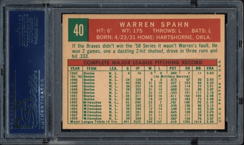 1959 Topps 40A warren spahn born in 1931 back