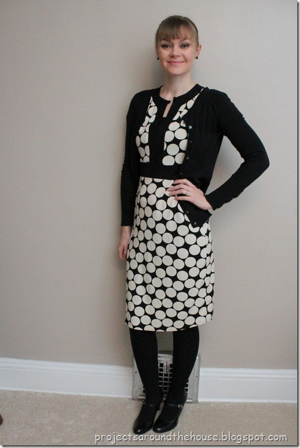 polka dot dress, black cardigan