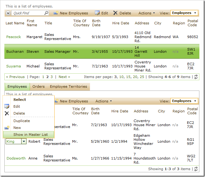 Buchanan focused in the master data view. 'Show in Master List' context menu option for employee King in the child data view.