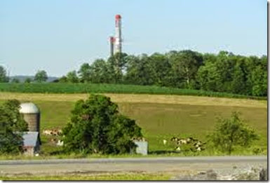fracking rig and farm