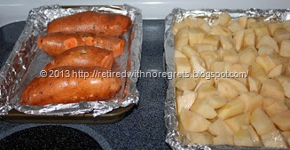 Roasting Vegetables - sweet potatoes and white potatoes