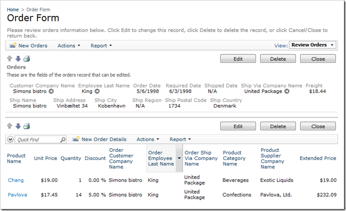 Order Form page with redundant fields and without aggregates
