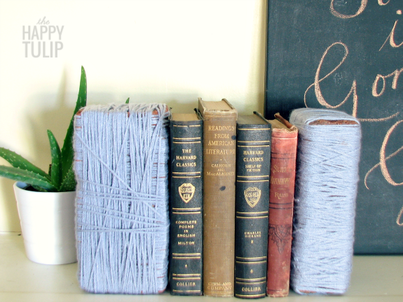 yarn wrapped brick bookends