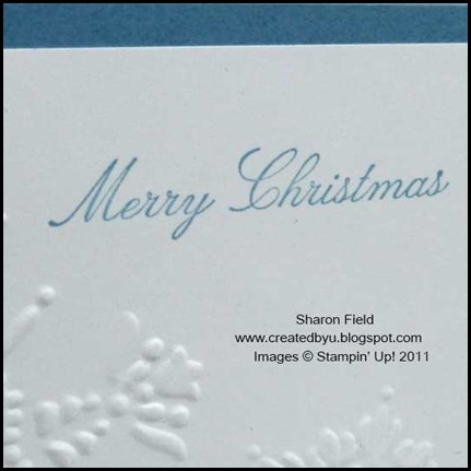 Stocking_Builder_Punch, Createdbyu_Blogspot, Sharon_Field, Holiday_Mini_Catalog, Idea_Book_and Catalog, Shop_online, Polar_Party, Come_to_Bethlehem, Christmas, Holiday, CAS, Clean_and_Simple, Quick_Cards, Blue, Stocking