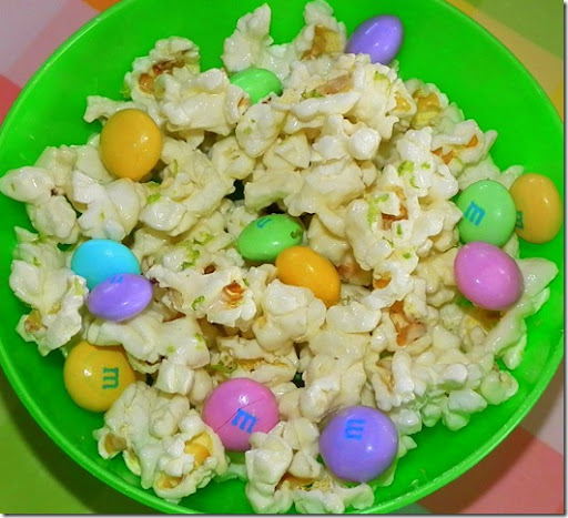 White Chocolate and Lime Popcorn with White Chocolate M&Ms