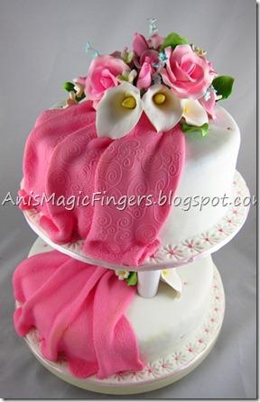 Anis Magic Fingers 2 Tier Fondant Wedding Cake Simple Design