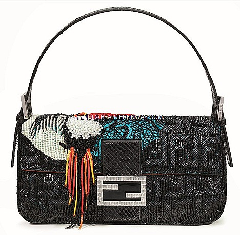 FENDI BAGUETTE TUCANO BAG Limited Re Editions colourful beaded tuscan bird sequins double F clasp .by Silvia Venturini FENDI FALL WINTER 2012' flagship store Singapore Grand Opening celebrities actress singers