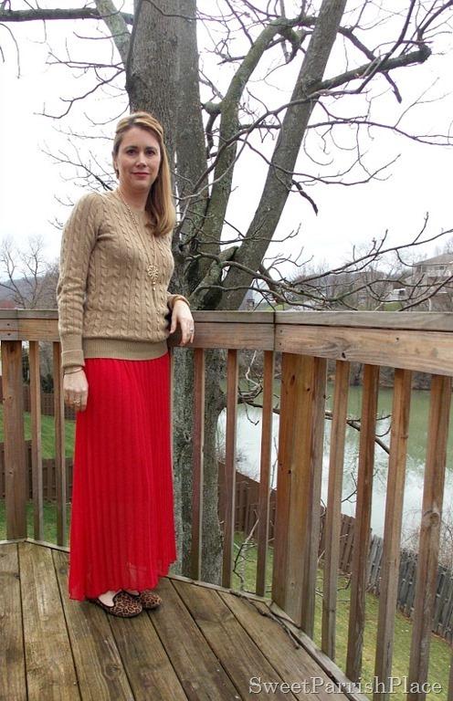 red maxi skirt, tan sweater, leopard flats