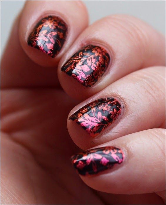 Nail Art Nageldesign Inverse Flower Pink Spice