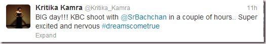 Kritika Kamra's Tweet