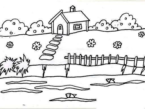 dibujos de casas dibujos para colorear. desenho de casa de campo ...