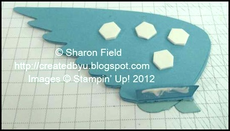 add stampin dimensionals and multipurpose adhesive in prep for attaching wing to bird