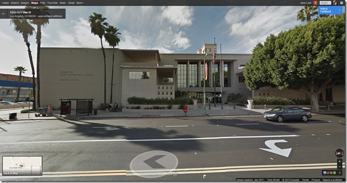 Googlemap showing Academy of Motion Picture Arts and Sciences - Hollywood