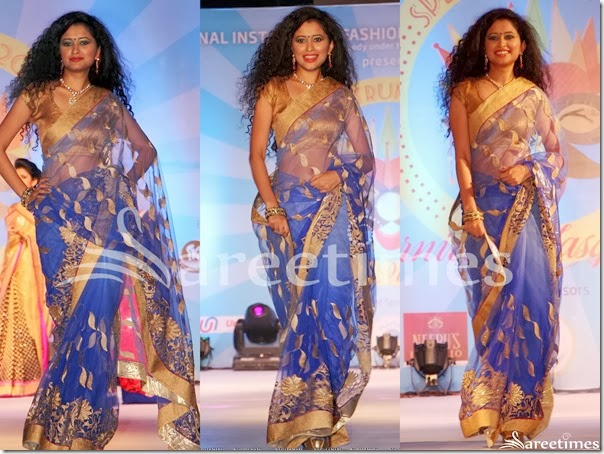 Blue_Embellished_Net_Saree
