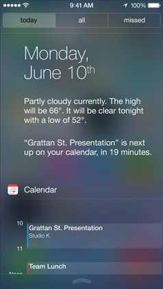 Apple iOS 7 Notification Center