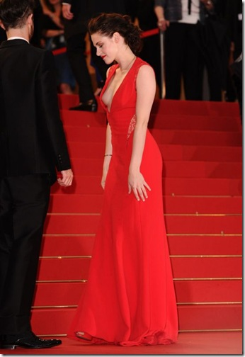 Kristen Stewart wearing Reem Acra at the Cosmopolis premiere at the Cannes Film Festival, May 25th