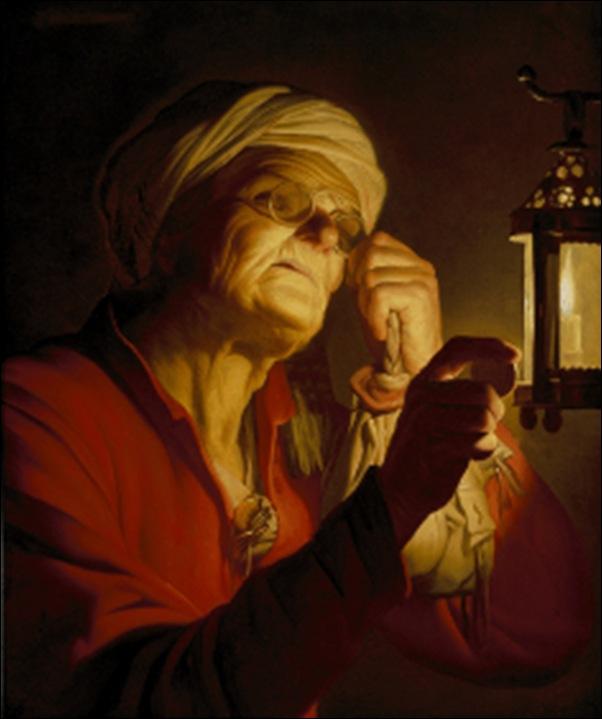 Honthorst, Femme examinant une pièce de monnaie