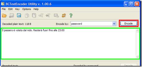 BCTextEncoder digitare testo da crittografare