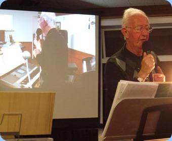 Peter Jackson singing using his keyboard harmonizer - larger than life! Photo courtesy of Peter Littlejohn.