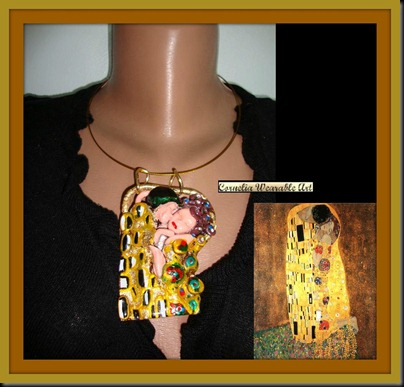 Wearable Art Gustav Klimt THE KISS Inspired Necklace