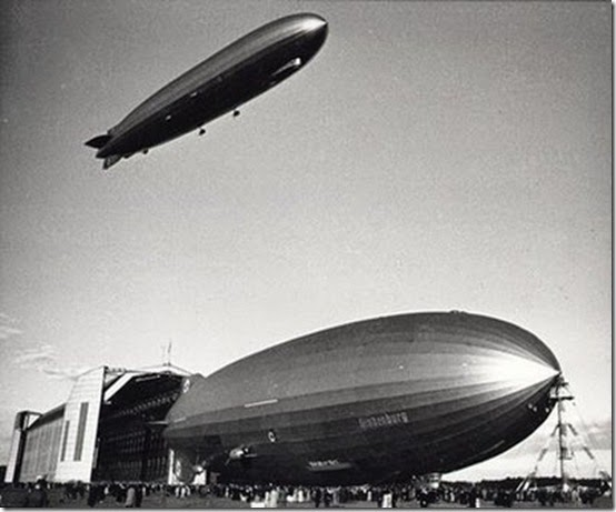 Graf Zeppelin flying over Hindenburg