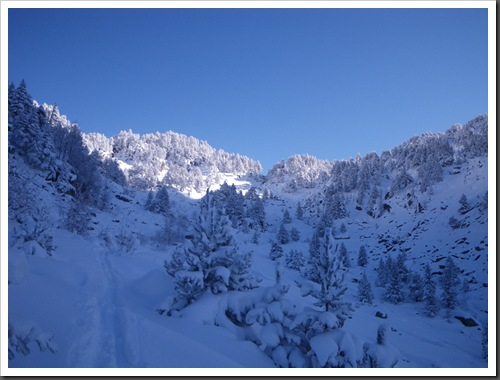 Cap de Baqueira 2466m desde Parking Orri con esquis (Baqueira, Valle de Aran, Pirineos) 2967