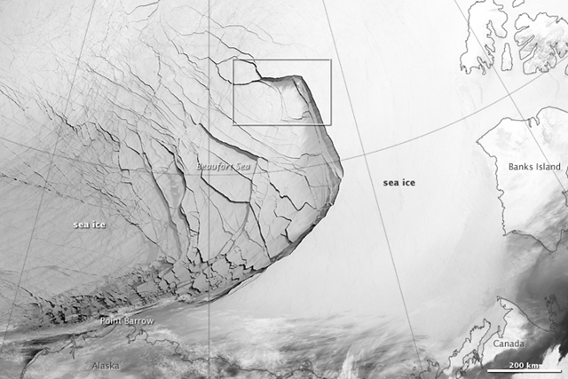 The Visible Infrared Imaging Radiometer Suite (VIIRS) on the Suomi NPP satellite captured this view of extensive sea-ice fracturing off the northern coast of Alaska. The event began in late-January and spread west toward Banks Island throughout February and March 2013. Photo: NASA Earth Observatory