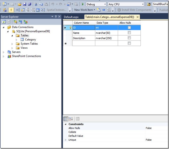 Creating Table In VS2010