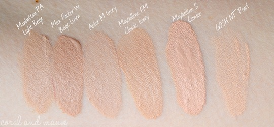 Maybelline FIT ME Foundation Swatch, Vergleich mit anderen Foundations