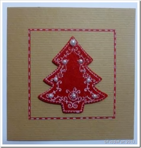 Red Nordic Tree Christmas Card