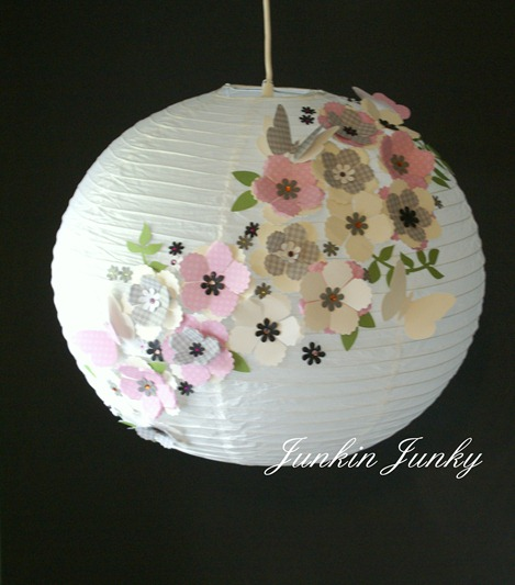 Pretty paper lantern at JunkinJunky.blogspot.com