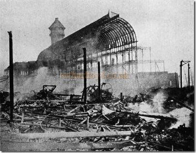 The Crystal Palace at Sydenham Hill after the fire