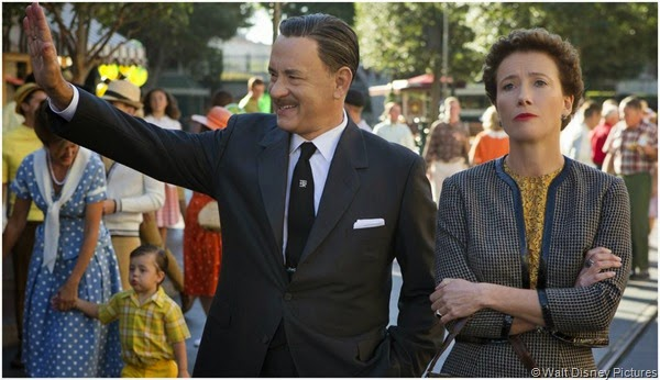 Tom Hanks as Walt Disney and Emma Thompson as P.L. Travers in SAVING MR. BANKS.
