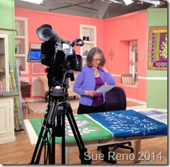 Sue Reno on the set of a Quilting Arts Video Workshop, image 2