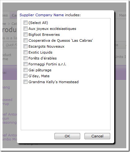 Supplier Company Name multi value filter only shows 10 items.