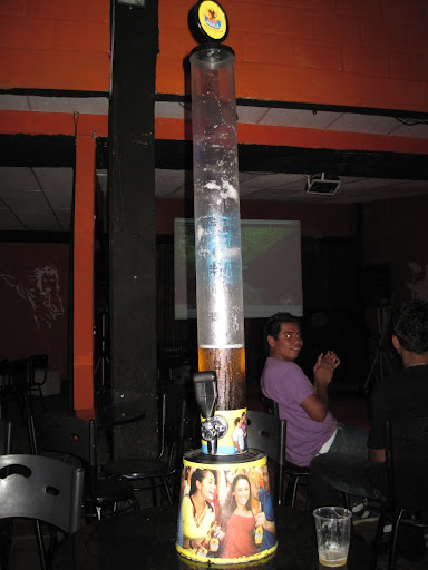 Karaoke and a tower of Aguila beer, San Gil, Colombia