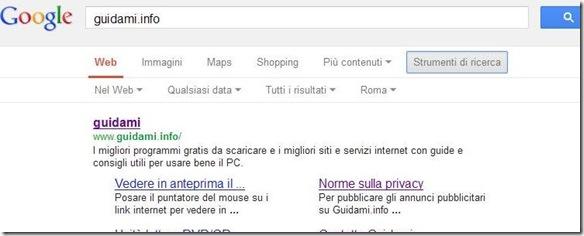 Opzione di ricerca Google Strumenti di ricerca