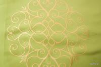 """Luksusowa trudnopalna tkanina z haftem. """"Tafta"""" butikowa. Na zasłony, poduszki, narzuty, dekoracje. Zielona, złota."""