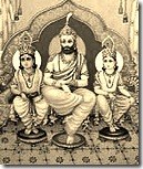King Dasharatha with Rama and Lakshmana