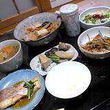 日本家庭の一般的な夕食。