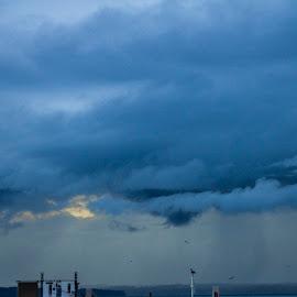 Between the Turrets by Matt Goodwin - City,  Street & Park  Vistas ( clouds, stormy, cranes, seattle, sunset, rainstorm, storm )